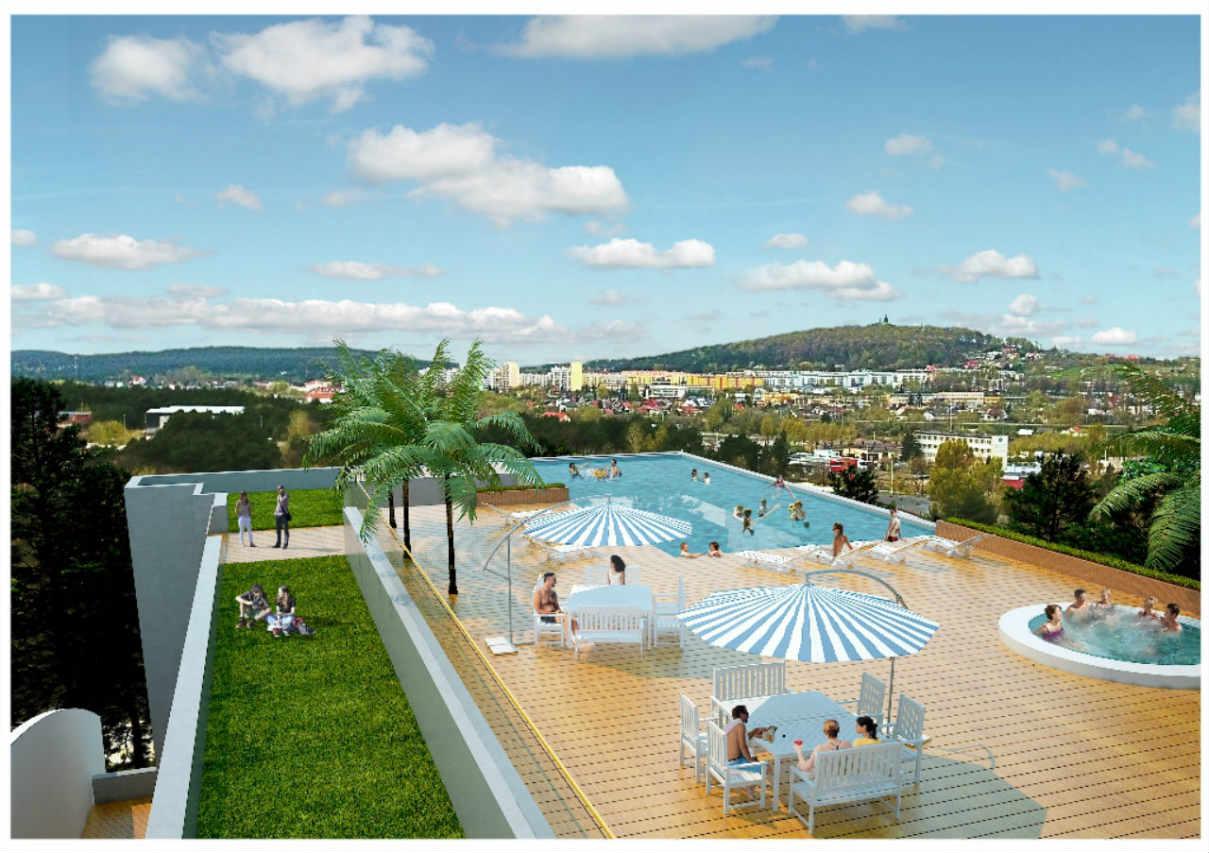 Panorama z dachu Baseny Tropikalne Binkowski Resort