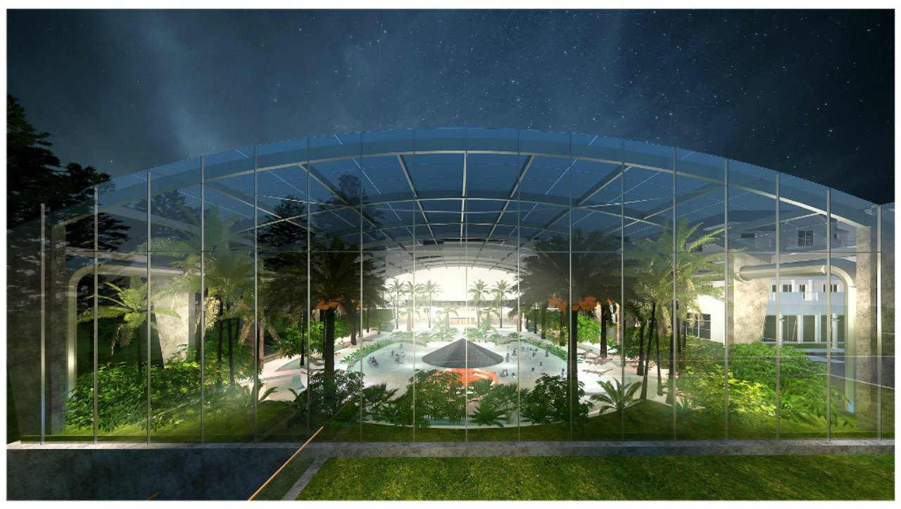 Baseny Tropikalne Binkowski Resort nocą