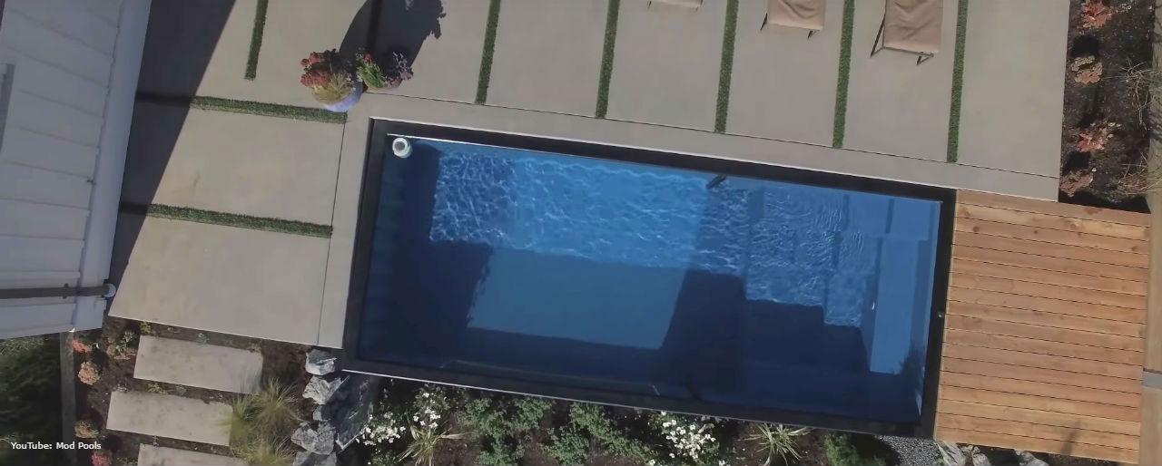 basen z kontenera - widok z góry, jak wygląda
