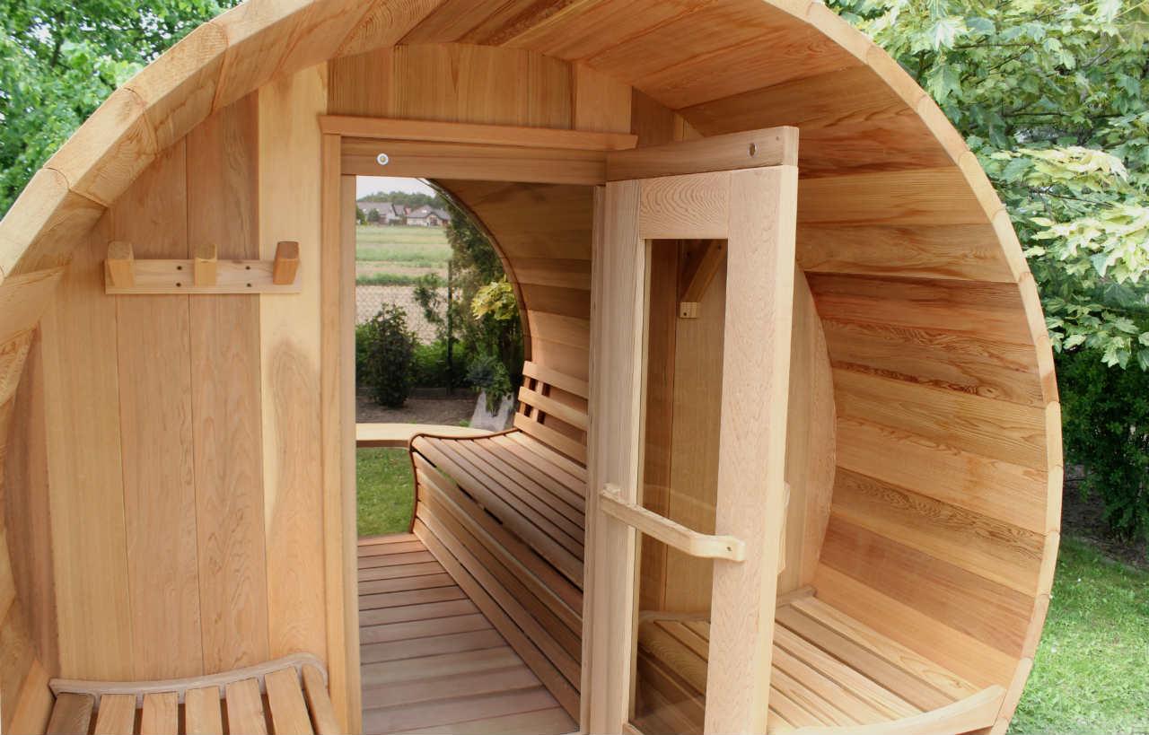 sauna ogrodowa z drewna cedrowego