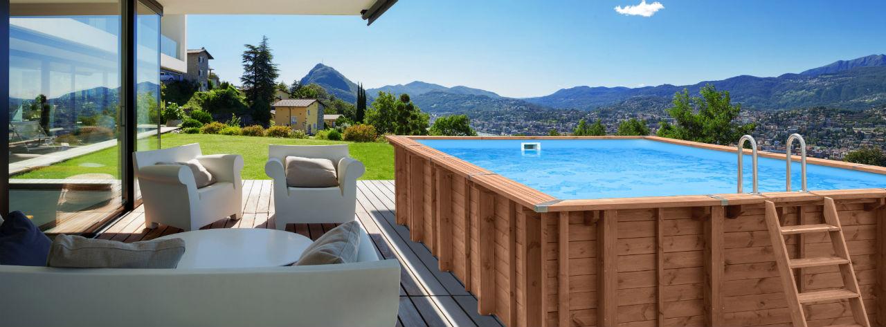 Luksusowy basen z drewna