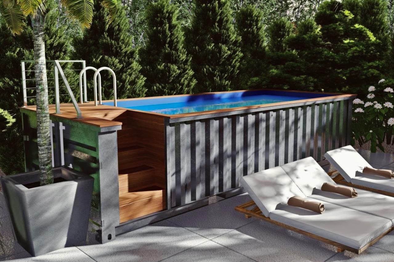 naziemny basen w konterze